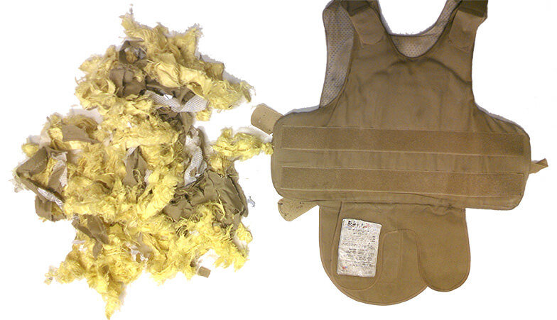 Shredded Kevlar Vest - Commercial Shredding - The Shredding Company, Inc.