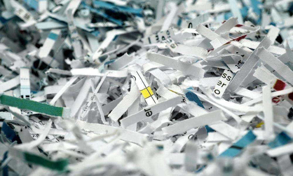 A pile of shredded paper.